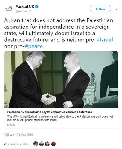<span>[Plan, który nie zajmuje się palestyńskimi aspiracjami do niepodległości w suwerennym państwie, skaże ostatecznie Izrael na destrukcyjną przyszłość i nie jest ani za Izraelem, ani za pokojem.]</span>