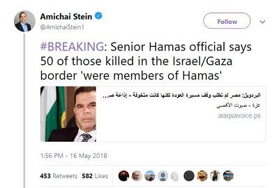 """Wysoki rangą oficjel Hamasu mówi, że 50 zabitych na granicy Izrael/Gaza """"byli członkami Hamasu"""""""