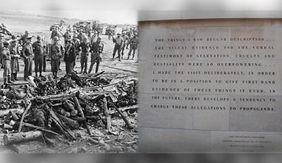 Eisenhower w obozie koncentracyjnym Ordhruf, 15 kwietnia 1945 roku; wypowiedź Eisenhowera u wejścia do U.S. Holocaust Memorial Museum.