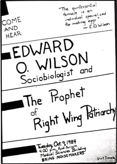 """<span>Plakat oznajmiający o wykładzie E.O. Wilsona zaleca, by publiczność """"przyniosła hałaśliwe instrumenty"""".</span>"""
