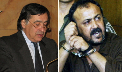 Burmistrz Palermo, Leoluca Orlando (po lewej), przyzna� honorowe obywatelstwo Marwanowi Barghoutiemu (po prawej), terrory�cie palesty�skiemu, organizatorowi zamachów, w których zgin�o wielu ludzi i który obecnie odsiaduje pi�� wyroków do�ywocia w wi�zieniu izraelskim.