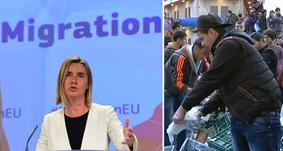Mimo chaosu i masowych mordów na Bliskim Wschodzie oraz masowej imigracji do Europy, kierująca polityką zagraniczną UE, Federica Mogherini (z lewej), poinformowała ostatnio, że Unia będzie znakować towary z żydowskich osiedli. Po prawej palestyński działacz antyizraelski niszczy produkty mleczne z izraelskiej farmy skonfiskowane handlarzowi z Ramallah 2 marca 2015.