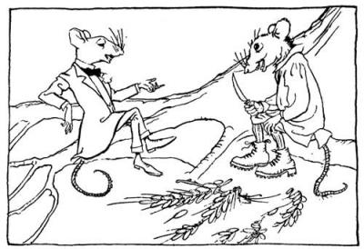 Mysz domowa i mysz wiejska. Arthur Rackham. Via Wikipedia http://commons.wikimedia.org/wiki/File:Rackham_town_mouse_and_country_mouse.jpg