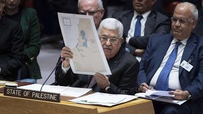 Przywódca Autonomii Palestyńskiej, Mahmoud Abbas, zwraca się do Rady Bezpieczeństwa ONZ w sprawie szczegółów bliskowschodniego planu pokojowego przedstawionego przez Stany Zjednoczone 11 lutego 2020 roku. Zdjęcie: Eskinder Debebe/U.N. Photo.