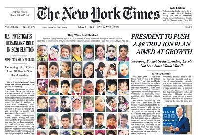 Zrzut zekranu pierwszej strony NYT z28 maja 2021r.