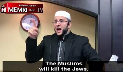 W muzułmańskich meczetach obietnica, że muzułmanie zabiją wszystkich Żydów jest powtarzana niemal codziennie. Na zdjęciu mówiący te słowa imam z Teksasu.