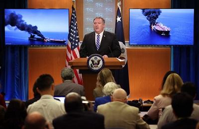 """Na zdjęciu: Sekretarz stanu USA, Mike Pompeo, przemawia na konferencji prasowej 13 czerwca 2019 r. w Waszyngtonie, gdzie powiedział: """"Według oceny rządu USA Iran jest odpowiedzialny za dzisiejsze ataki [na tankowce] w Zatoce Omanu"""" (Zdjęcie: Win McNamee/Getty Images)"""