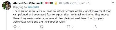 [Nie ma więcej Żydów w tych krajach z powodu ruchu syjonistycznego, który prowadził kampanię, a także używał strachu, żeby eksportować ich do Izraela. A kiedy przenieśli się tam, byli traktowani jak ciemnoskórzy Żydzi drugiej kategorii. Europejscy Aszkenazyjczycy byli i są najwyższymi władcami.]