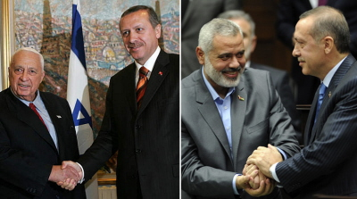 Wzloty i upadki stosunków dyplomatycznych Turcji z Izraelem. Po lewej: Prezydent turecki Recep Tayyip Erdogan (wówczas premier) ściska dłoń ówczesnego premiera izraelskiego, Ariela Szarona, w maja 2005 r. Po prawej: Erdogan ściska dłoń przywódcy Hamasu, Ismaila Hanijeha 3 stycznia 2012 r.