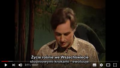 """Mechanizm ewolucji bodaj najprzystępniej wyjaśniał Richard Dawkins w cyklu pięciu wykładów dla dzieci i młodzieży """"Dorastać we wszechświecie"""" w 1991 roku (Zrzut z ekranu z pierwszego wykładu z tego cyklu:https://www.youtube.com/watch?v=mxWceGYjRYg)"""