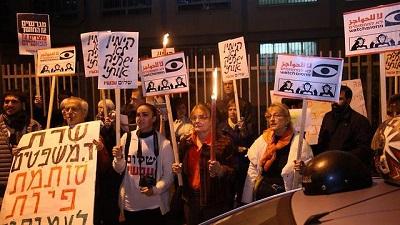 Izraelczycy protestują przeciwko prawu o NGO przed domem minister sprawiedliwości, Ayelet Shaked(Zdjęcie: Motti Kimchi)
