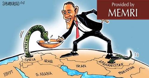 Karykatura zamieszczona przez Sabira Nazara 19 czerwca 2013 r. kwestionuje politykę zagraniczną Baracka Obamay