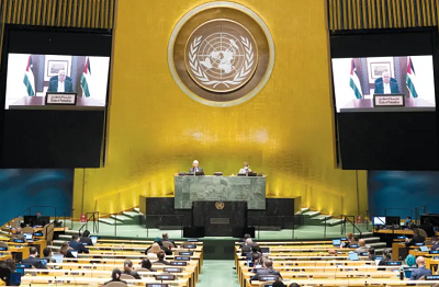 Palestyński prezydent, Mahmoud Abbas, przemawia zdalnie podczas 75. dorocznego Zgromadzenia Ogólnego ONZ – wrzesień 2020 (zdjęcie: UNITED NATIONS/REUTERS)