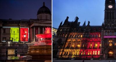 W dzień po atakach terrorystycznych w Brukseli budynki publiczne w Wielkiej Brytanii, takie jak National Gallery Londynie (po lewej) i ratusz miejski w Manchesterze (po prawej), oświetlono barwami flagi belgijskiej.