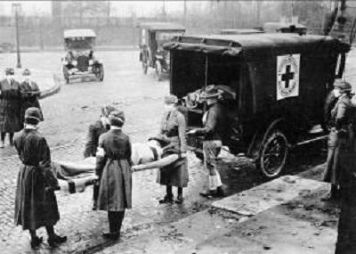 Epidemia grypy w 1918 roku (Wikimedia Commons)