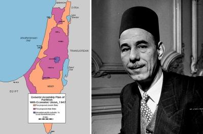 W maju 1948 r. Azzam Pasza (po prawej), sekretarz generalny Ligi Arabskiej, oznajmił w sprawie proponowanej żydowskiej części podziału: \
