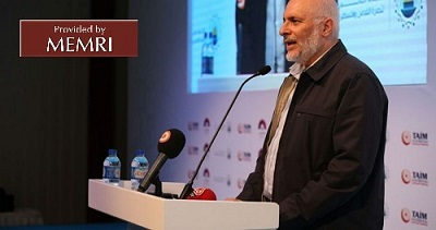 Maher Salah przemawia w Stambule (zdjęcie: Palinfo.com, 21 października 2017)
