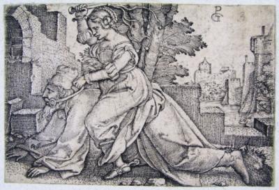 Filis ujeżdżająca Arystotelesa.<br />Georg Pencz (1500-1550) rytownik;