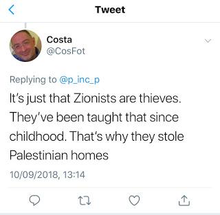 """[To po prostu jest tak, że syjoniści są złodziejami. Uczono ich tego od dzieciństwa. Dlatego ukradli palestyńskie domy]""""Costs"""" chce powiedzieć, że """"syjoniści ożydzili Palestyńczyków""""."""