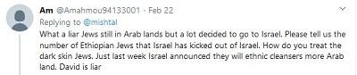 [Co za kłamca Żydzi nadal w krajach arabskich, ale wielu postanowiło iść do Izraela, Proszę, podaj nam liczbę etiopskich Żydów, których Izrael wykopał z Izraela. Jak traktujecie ciemnoskórych Żydów. Tylko w zeszłym tygodniu Izrael ogłosił, że oczyści etnicznie więcej ziemi arabskiej. David jest kłamcą]