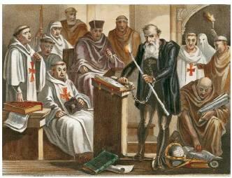 """""""Galileusz jest 'oskarżony przez Święte Oficjum o wyznawanie fałszywej nauki, sprzecznej z Pismem Świętym, i twierdzenie, że Słońce stanowi centrum wszechświata i nie porusza się ze wschodu na zachód, ale że porusza się Ziemia, która nie jest centrum wszechświata'""""Wyrok inkwizycji w sprawie Galileusza, 22 czerwca 1633r."""