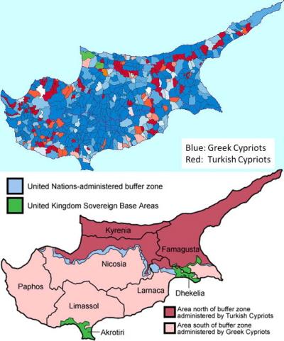 Przed i po: etniczno-religijna dystrybucja na Cyprze przed i po wojnie i inwazji tureckiej