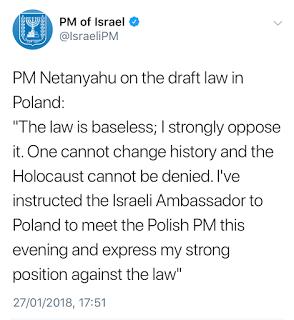 [To prawo jest bezpodstawne; ostro mu się sprzeciwiam. Nie można zmienić historii i nie można zaprzeczyć Holocaustowi. Poinstruowałem ambasador w Polsce, by spotkała się z polskim premierem i wyraziła moje ostre stanowisko przeciwko temu prawu.]