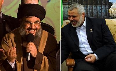 Hezbollah i Hamas muszą zaśmiewać się, bo pod słabymi i bezsilnymi rządami widzą, jak rośnie ich potęga. Po lewej: przywódca Hezbollahu Hassan Nasrallah (Paula Bronstein/Getty Images). Po prawej: przywódca Hamasu Ismail Haniyeh (Muhammad Alostaz/PPM via Getty Images).