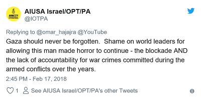 Tweet z konta pro-palestyńskiej Amnesty USA:[Tekst tweetu:Nigdy nie wolno zapominać o Gazie. Hańba przywódcom świata, którzy pozwalają na trwanie tego stworzonego przez człowieka koszmaru – blokady i braku odpowiedzialności za zbrodnie wojenne popełniane przez lata podczas konfliktów zbrojnych.]