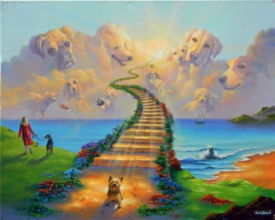 Wszystkie psy idą do nieba, obraz Jima Warrena - http://jimwarren.com/portfolio/all-dogs-go-to-heaven-3/