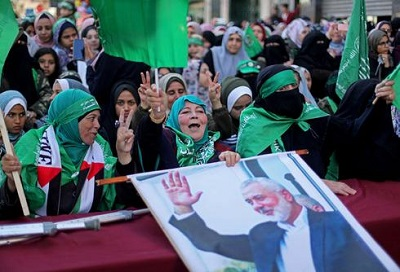 Wiec Hamasu w Gazie w 32 rocznice założeni aHamasu. (Zdjęcie: Reuters)