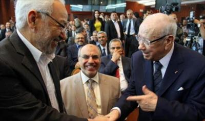 Szef partii Al-Nahda, Rached Al-Ghannouchi (po lewej) z prezydentem Tunezji, Bed�im Caidem Essebsim (po prawej) (�ród�o: alwasat.ly, 20 maja 2016)