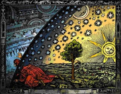Camille Flammarion, ilustracja francuskiego astronoma do książkiL'Atmosphere: Météorologie Populaire, wydanej w 1888 roku. <br />