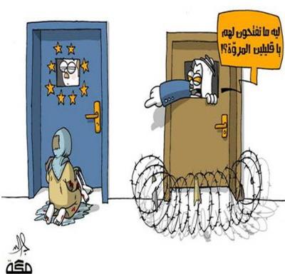"""Arab, zabarykadowany za zamkniętymi drzwiami, pyta Europę: """"Dlaczego nie otwieracie im drzwi, małoduszni ludzie?"""" (Makkah, Arabia Saudyjska, 1 wrzesnia 2015)"""