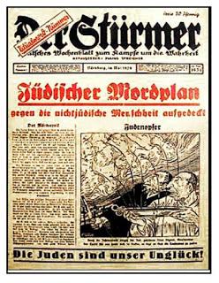 """Okładka """"Stürmera"""" z maja 1934 r., na której jest opowieść o morderczym planie żydowskim wycelowanym we wszystkich nie-Żydów, byłaby dobrą ilustrację tej części Karty Hamasu."""