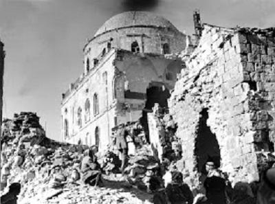 Ruiny synagogi Tiferet Israel, 1949