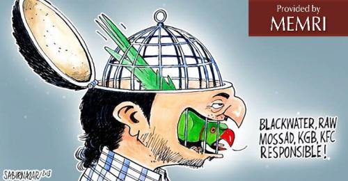 Karykatura Sabira Nazara o pakistańskich teoriach spiskowych (Źródło: Viewpointonline.net)