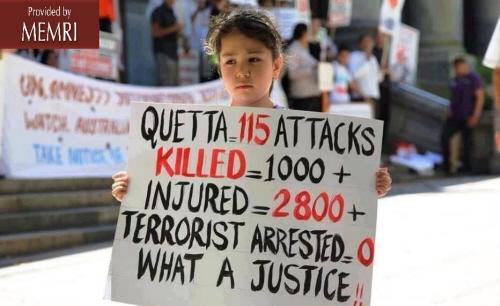 Pakistańska dziewczynka protestująca przeciwko zabijaniu szyitów w mieście Kuetta (zdjęcie: lubpak.com)