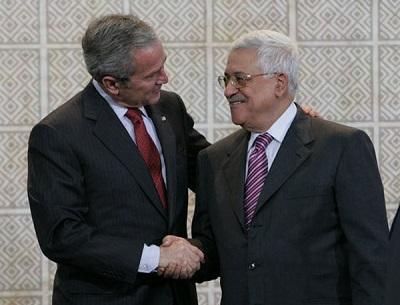 """Prezydent Bush i """"prezydent""""Abbas 2008(- No to jak, zgodzisz się? <br />-Nie.)"""
