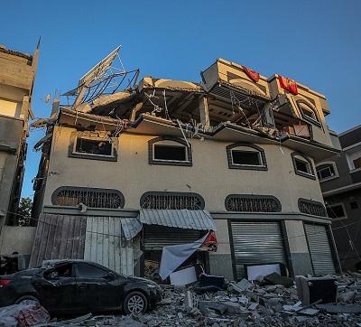 Budynek, w którym zginął przywódca Palestyńskiego Islamskiego Dżihadu, Baha Abu al-Ata.