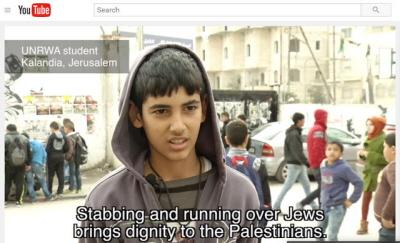 """[Napis na ekranie: """"Dźganie nożami i przejeżdżanie Żydów daje Palestyńczykom godność""""]Czego UNRWA dokonała w Jerozolimie:z filmu dokumentalnego Center for Near East Policy Research[KliknijYouTube</a>[polskie podpisy: https://www.youtube.com/watch?v=u1q5lMB9rYo ], żeby zobaczyć film]"""