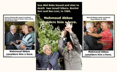 Zdjęcia od lewej:Osama Zakarija Abu Hanani zamordował Moti Bitona na oczach jego żony i małego syna w 1992 r. Mahmoud Abbas uważa go za bohatera.Issa Abd Rabo związał i zastrzelił dwoje izraelskich turystów, Revital Seri i Rona Leviego w 1984 r. Mahmoud Abbas uważa go za bohatera.Risk Ali Chadar Salah zamordował Guya Fridmana w 1992 r. Mahmoud Abbas uważa go za bohatera.