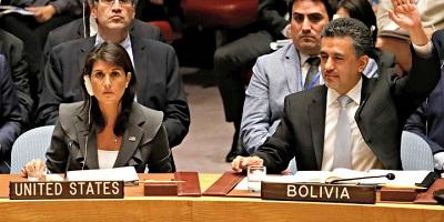 Ambasador USA Nikki Haley zakłada weto na Radzie Bezpieczeństwa 1 czerwca 2018 r. Zdjęcie: Reuters/Shannon Stapleton.