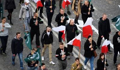<div>Nacjonaliści przeszli ulicami Białegostoku. ©Konrad Karkowski<br />Czytaj więcej: http://www.poranny.pl/wiadomosci/bialystok/a/82-rocznica-powstania-onr-obchody-w-bialymstoku-marsz-nacjonalistow-zdjecia-wideo,9884130/</div>