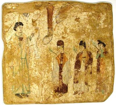 Kapłani nestoriańscy w procesji naNiedzielę Palmową. Fresk z VII lub VIII w. w nestoriańskim kościele wGaochangw Chinach.