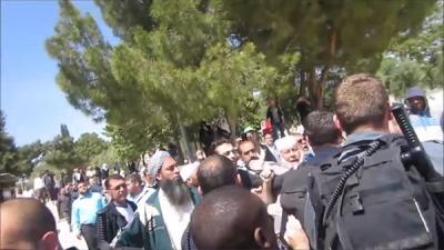 Setki muzułmanów na Wzgórzu Świątynnym, wrzeszczących i rzucających przedmiotami, otacza trzech Żydów i ich dzieci, a około dziesięciu policjantów próbuje powstrzymać wściekły tłum i ewakuować Żydów.