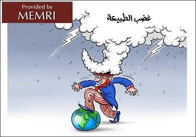 """Karykatura w wychodzącej w Londynie gazecie """"Al-Quds Al-Arabi"""": Irma jako \"""
