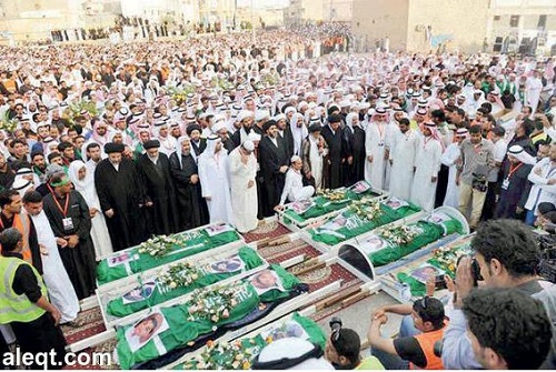 Pogrzeb ofiar z Al-Ahsa (zdjęcie: Al-Iqtisadiyya, Arabia Saudyjska, 9 listopada 2014)