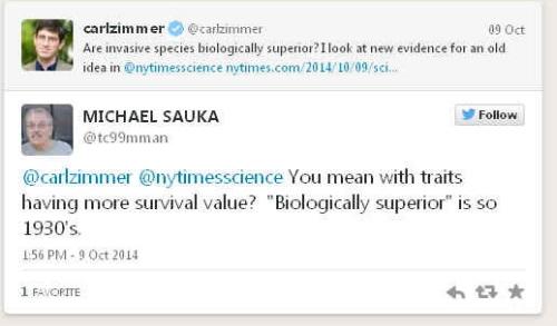"""Czy gatunki inwazyjne są biologicznie lepsze? Patrzę na nowe dowody starych koncepcji w @nytimescience….Masz na myśli to, że maja cechy dające lepsze szanse przetrwania? """"Biologicznie lepsze"""" brzmi to jak z lat 1930."""