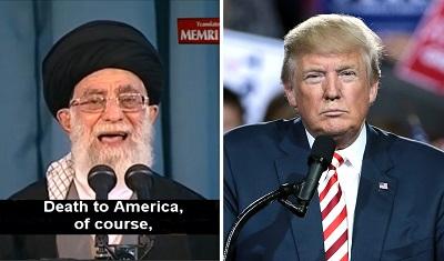"""Radosne oczekiwanie na porażkę polityki prezydenta Trumpa wobec Iranu oznacza wzywanie do wzmocnienia i ośmielenia teokratycznego reżimu, który nieustannie wykrzykuje groźby """"Śmierć Ameryce"""" – przypuszczalnie bombami atomowymi, jeśli będzie miał tę możliwość, którą pracowicie zdobywa. (Zdjęcia: Ajatollah Chamenei - MEMRI; prezydent Trump - Gage Skidmore/Flickr)"""